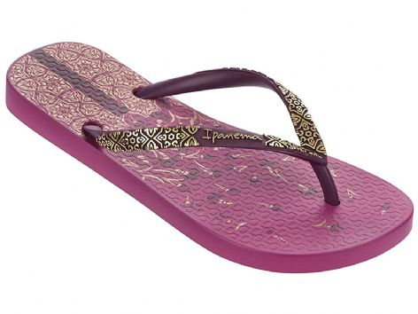 Ipanema Womens Aloe Flower Pink Purple Flip Flops